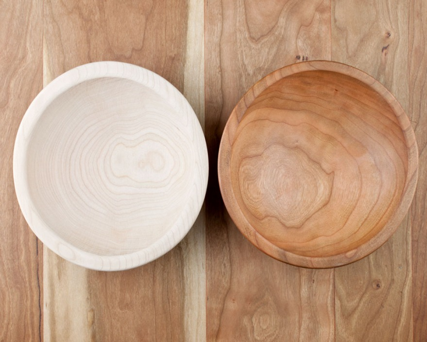 cherry wood bowl, before and after treatment with original beeswax polish