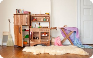 Natural wood is beautiful, non-toxic, and pleasant to touch.  Play kitchen sets encourage hours of creative play.