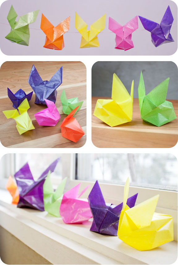 Origami kite bunnies made with kite paper from Palumba, specializing in natural, non-toxic toys, crafts, books, and home goods.