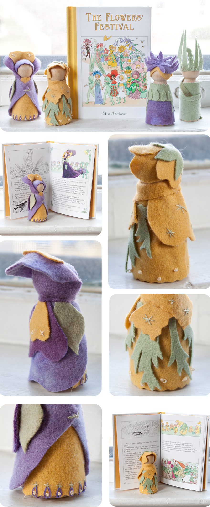 The Flowers' Festival, by Elsa Beskow inspired our spring craft project, made with wool felt and wooden peg dolls from Palumba natural toys and non-toxic arts and craft supplies.
