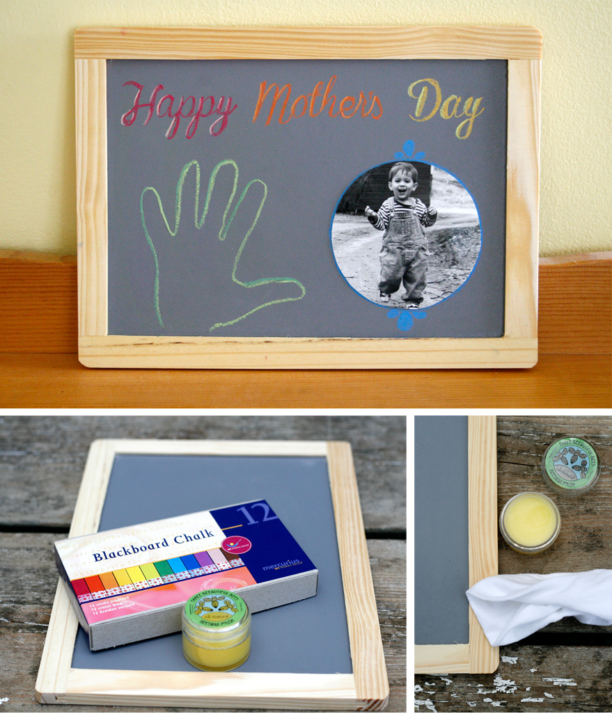 Mercurius chalk and a simple wood-framed blackboard are the ingredients for a sweet and practical holiday gift, by Palumba natural, non-toxic toys and art supplies.