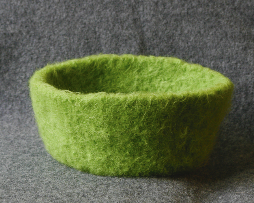 Knit and felt this adorable bowl with one skein of yarn, by Palumba, specializing in natural toys and art supplies.