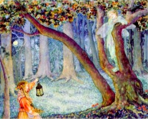 Image of the two children meeting on Hallow's Eve, in Yolen and Dyer's Child of Faerie, Child of Earth.